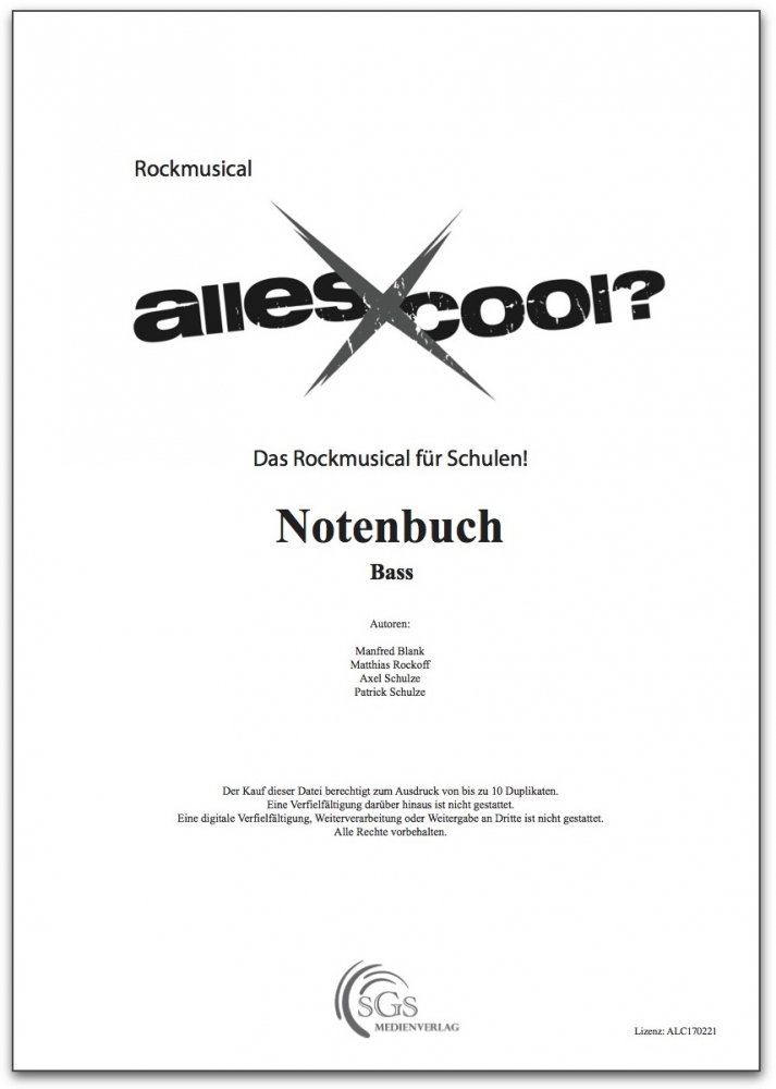 Bild 1 von Alles Cool - Notenbuch Bass (PDF-Download)
